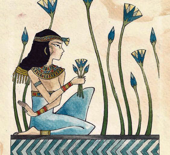 egyptian art of woman picking lotus flowers for brockwell incorporated's illustrated glossary of classical architectural terms