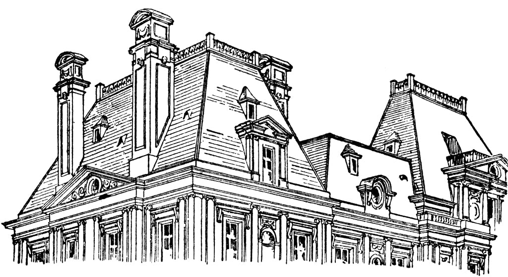 black and white sketch of a mansard roof - classical illustrated glossary term example