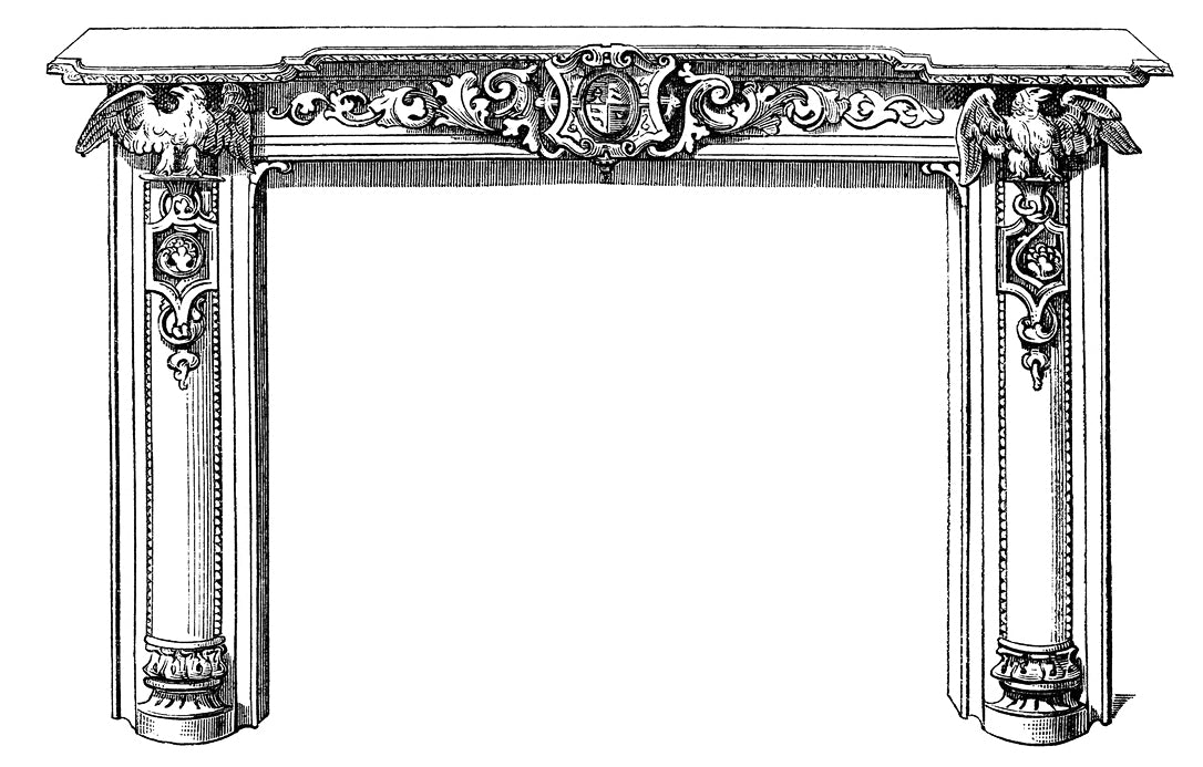 black and white sketch of a mantel for the illustrated glossary of architectural terms