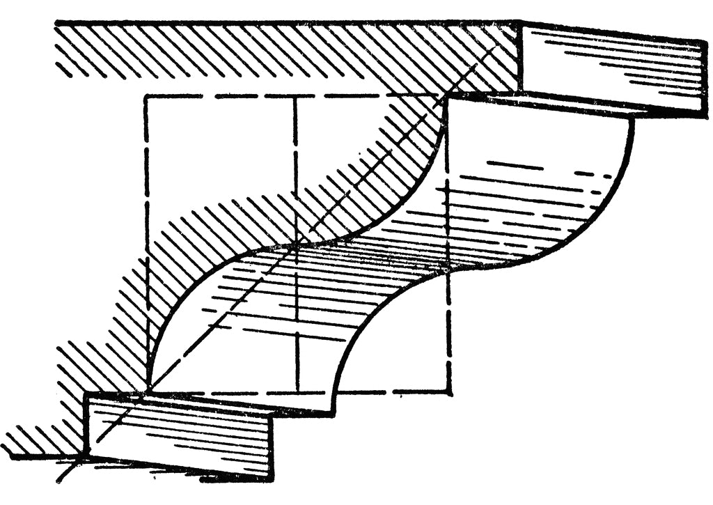 Ogee Molding black and white sketch for Brockwell Incorporated's architectural glossary