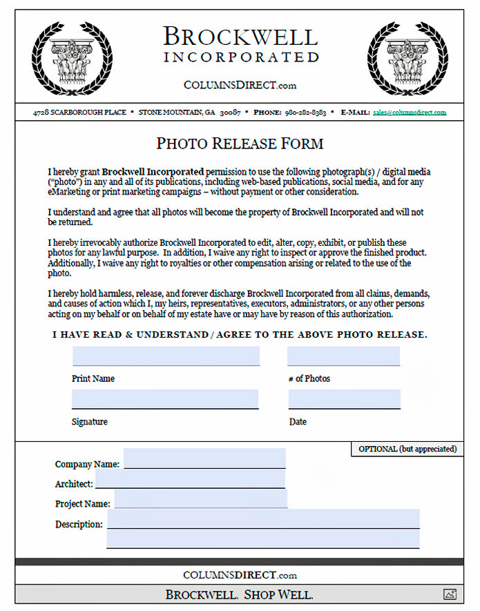 Download Brockwell Incorporated's Photo Release Form
