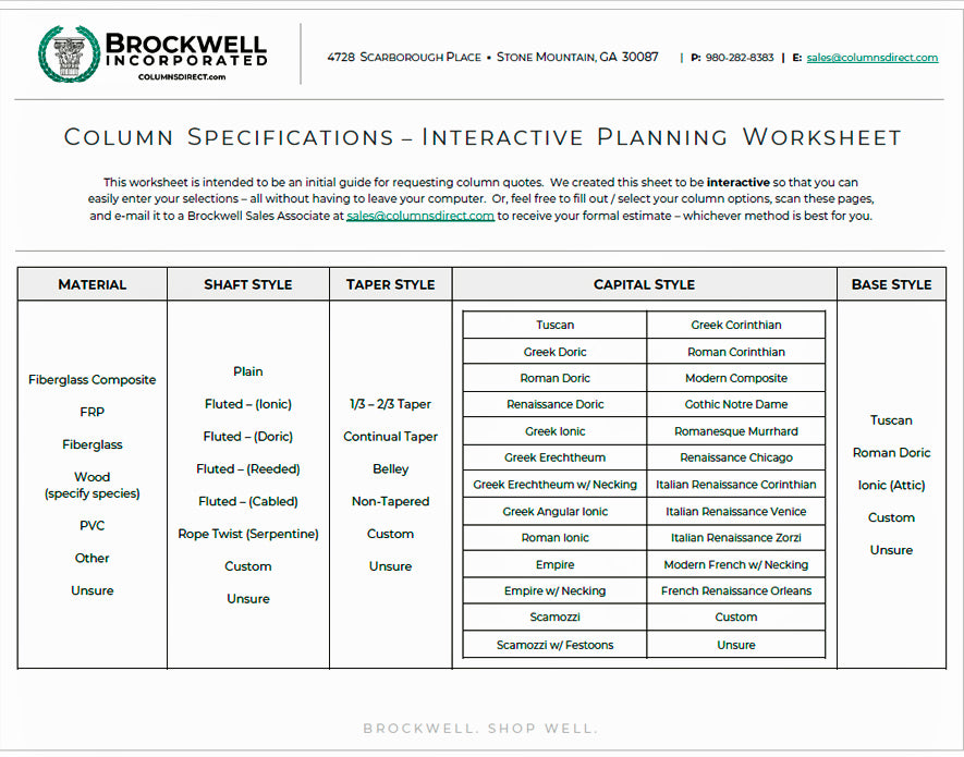Download Brockwell Incorporated's Column Project Planning Sheet