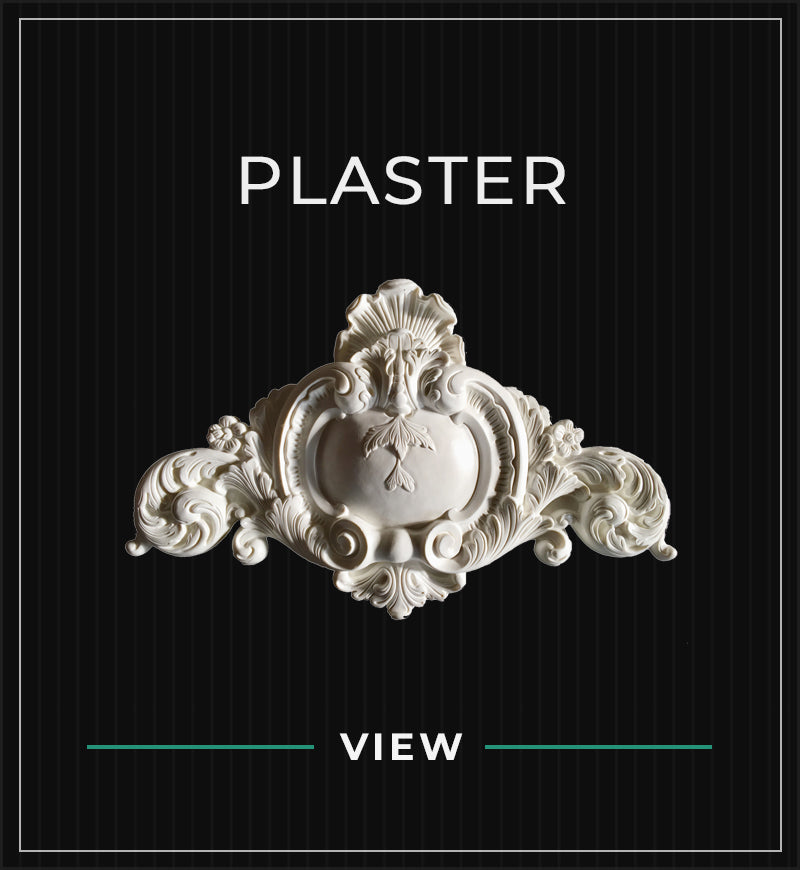 plaster cartouche accent on a black subtle pin stripe background