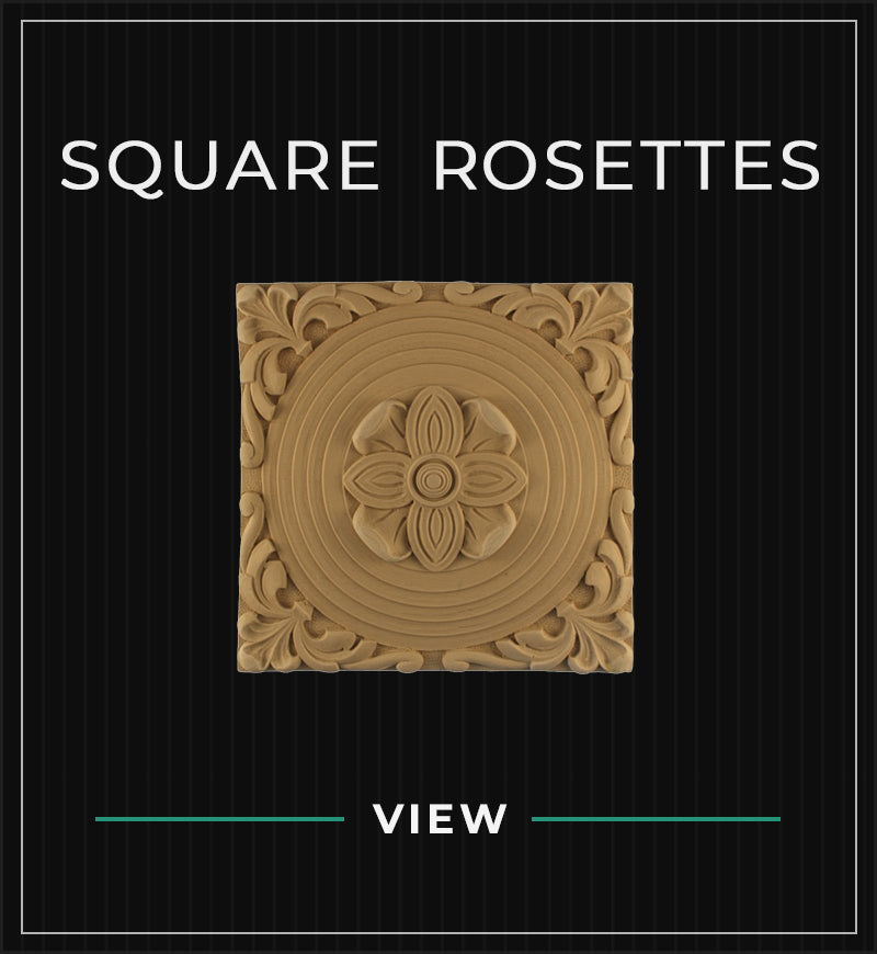 square compo resin stain-grade material rosettes from Brockwell Incorporated