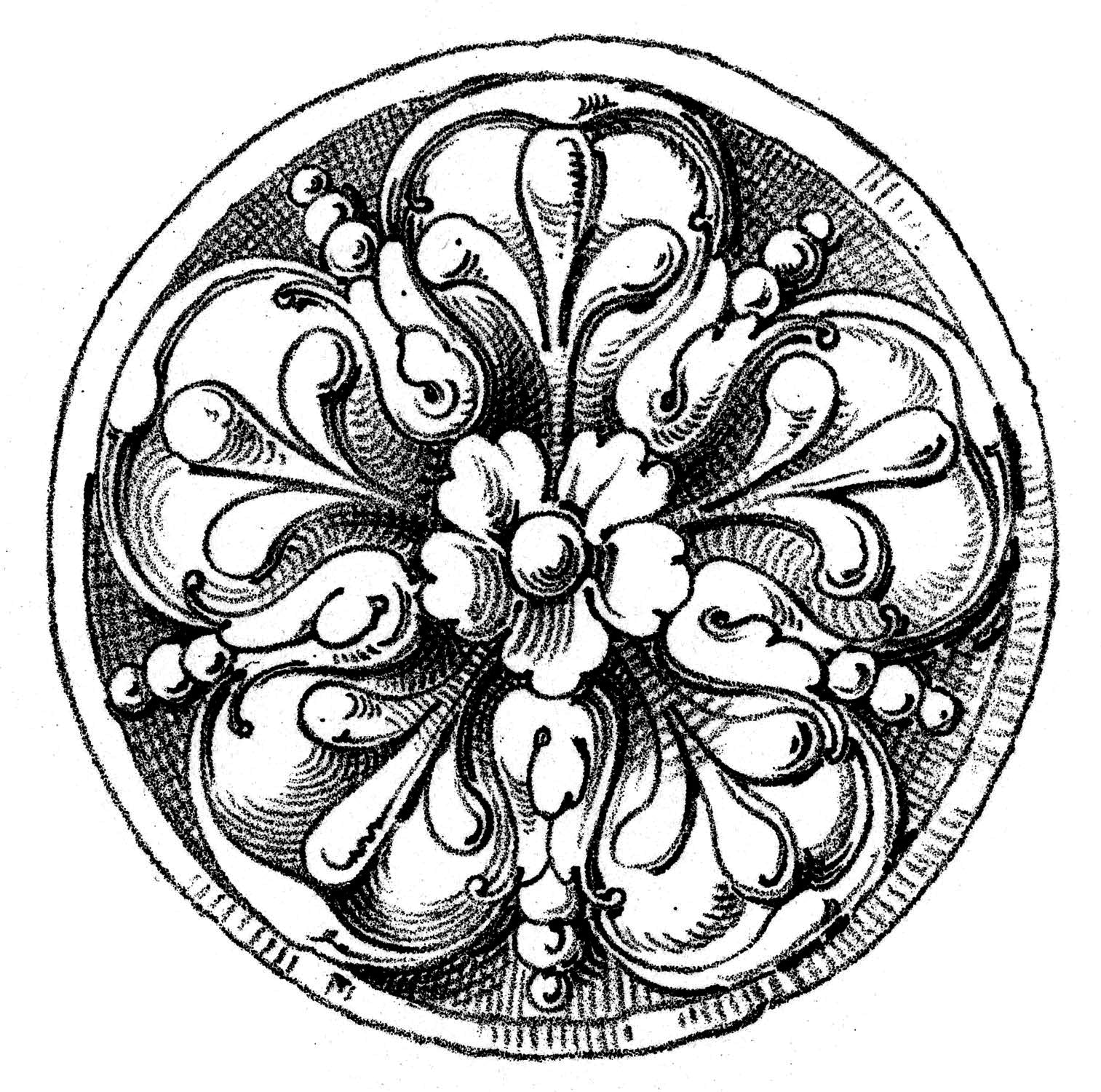 black and white sketch of a round or circular rosette design for brockwell incorporated's illustrated glossary of architectural terms