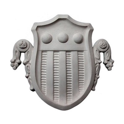 "14-1/2"" (W) x 15-1/2"" (H) x 7/8"" (Relief) - Flemish Shield Ornament - [Plaster Material] - Brockwell Incorporated"