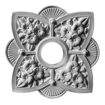 "19-5/8"" (W) x 19-5/8"" (H) x 2-1/4"" (Relief) - Hole: 4-1/4"" - Victorian Style Medallion - [Plaster Material] - Brockwell Incorporated"