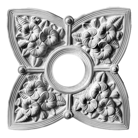 "17"" (W) x 17"" (H) x 2-1/4"" (Relief) - Hole: 4-1/4"" - Victorian Style Medallion - [Plaster Material] - Brockwell Incorporated"