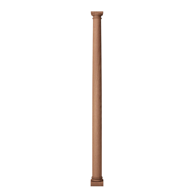 a 3 inch bottom diameter by 4 feet overall height solid wood plain round fireplace column