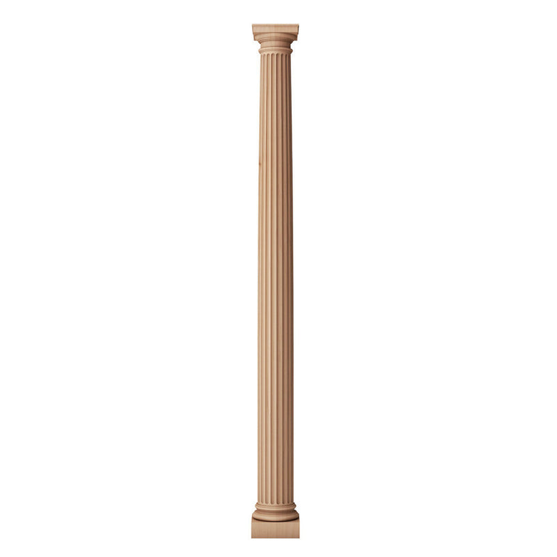 ColumnsDirect.com's fluted round 4 inch diameter wood fireplace column with a roman doric capital and ionic base