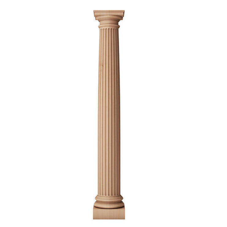 Brockwell Incorporated's fluted round tapered solid wood fireplace column with a Roman Doric capital and attic base