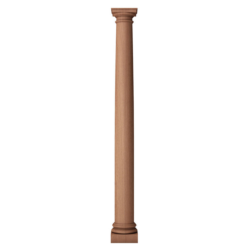 a plain and tapered round solid wood fireplace mantel column design with a roman doric capital