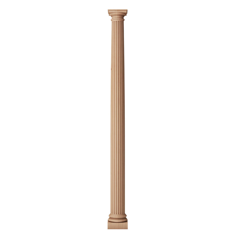 a solid wood fireplace column on a white background that shows a roman doric capital and ionic (attic base)