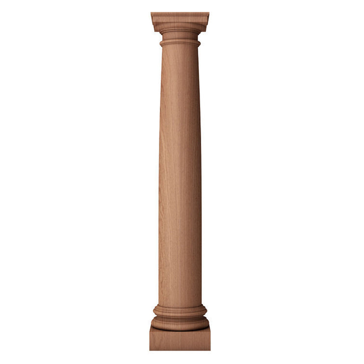 5 inch diameter by 3 feet in height Roman Doric plain tapered shaft wood column with an ionic or attic base