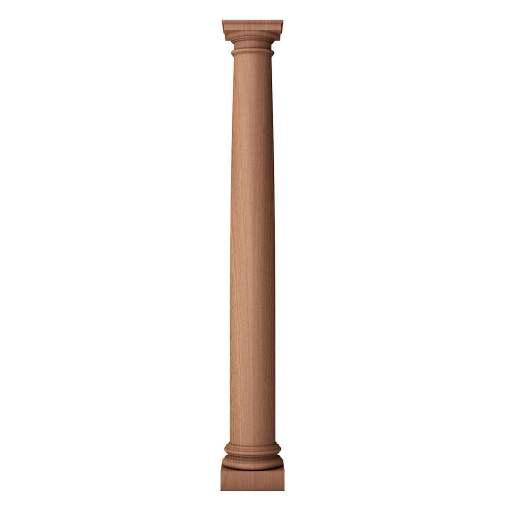a large solid wood plain fireplace column with a round and tapered shaft and a roman doric capital