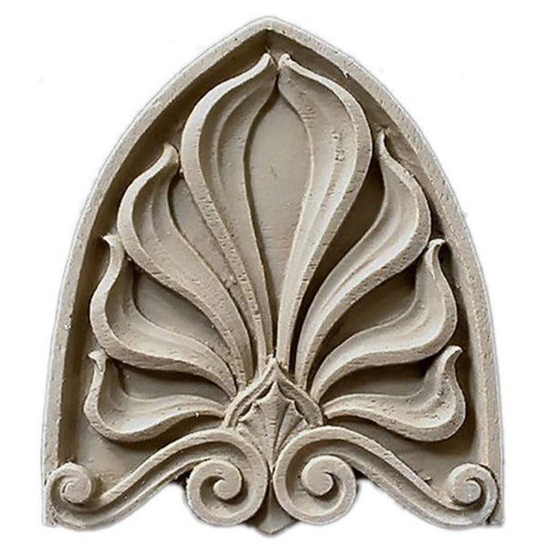 "Brockwell's 2-3/4""(W) x 3-1/8""(H) x 1/4""(Relief) - Interior Applique - Greek Palmette - [Compo Material]- - ColumnsDirect.com"