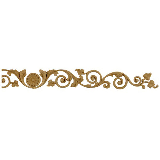 "Brockwell's 9-3/4""(W) x 1-1/2""(H) - Vine & Leaves in Scroll Pattern - Stain-Grade - [Compo Material]- - ColumnsDirect.com"