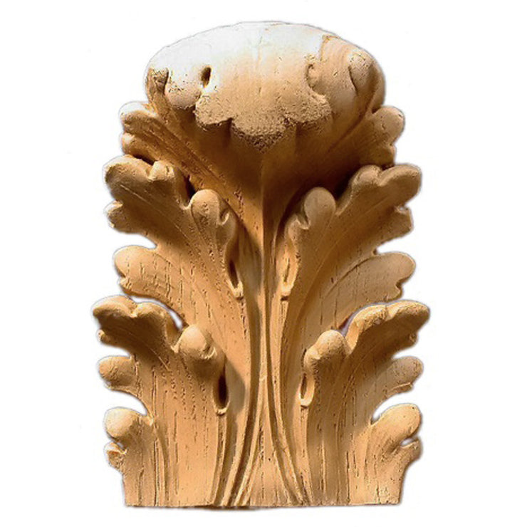 "Brockwell's 3-1/2""(W) x 4-7/8""(H) x 1-1/2""(Relief) - Stainable Applique - Italian Acanthus Leaf - [Compo Material]- - ColumnsDirect.com"