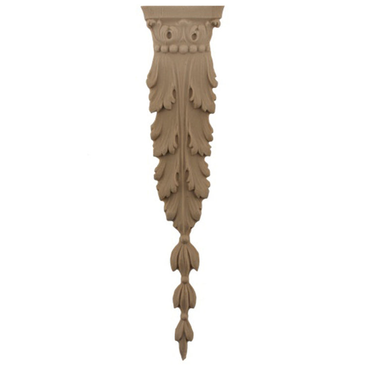 "Brockwell's 2-1/8""(W) x 9""(H) - Stainable Applique - Acanthus Leaf Drop - [Compo Material]- - ColumnsDirect.com"