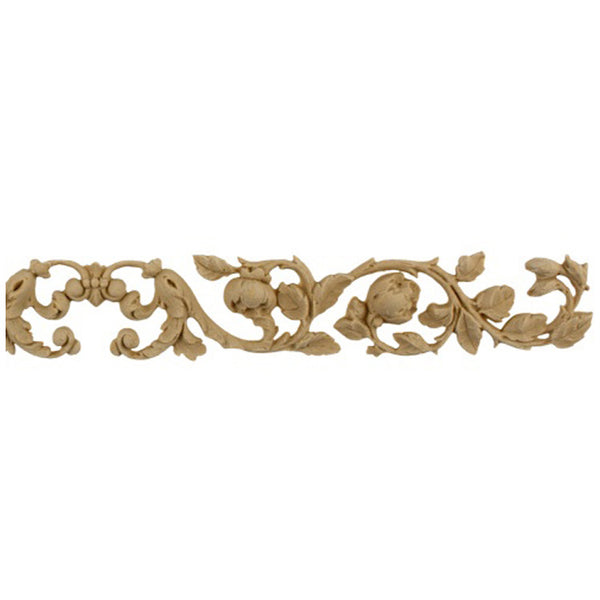 "Brockwell's 13-3/4""(W) x 1-1/2""(H) - Floral Band w/ Center Scroll - Stain-Grade - [Compo Material]- - ColumnsDirect.com"