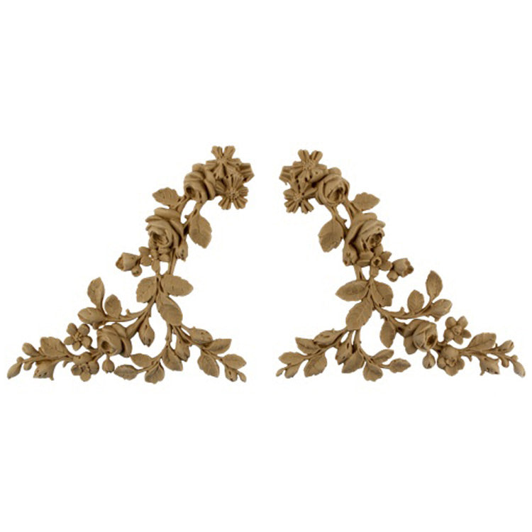 "Brockwell's 7""(W) x 6-3/4""(H) - Floral Wreath Ornament - Stain-Grade - (PAIR) - [Compo Material]- - ColumnsDirect.com"