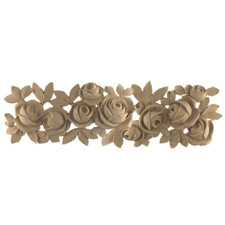 "Brockwell's 25-1/2""(W) x 8""(H) x 9/16""(Relief) - Ornate Applique - French Floral Design - [Compo Material]- - ColumnsDirect.com"