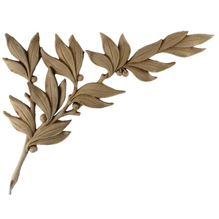 "Brockwell's 13""(W) x 10-1/2""(H) x 3/8""(Relief) - Ornate Applique - (Left) Oak Branch Design - [Compo Material]- - ColumnsDirect.com"