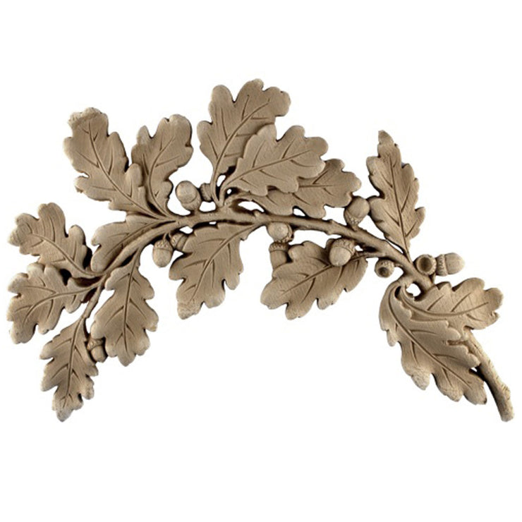 "Brockwell's 16-5/8""(W) x 11""(H) x 5/8""(Relief) - Ornate Applique - (Right) Oak Leaves Design - [Compo Material]- - ColumnsDirect.com"
