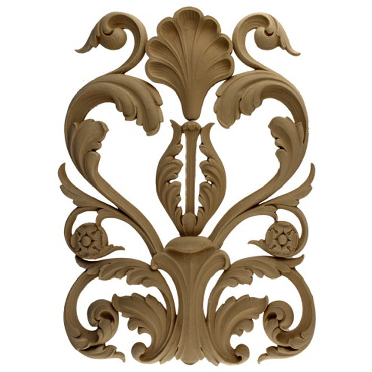 "Brockwell's 14""(W) x 18-1/2""(H) x 5/8""(Relief) - Ornate Leaf Applique - Renaissance Scroll - [Compo Material]- - ColumnsDirect.com"