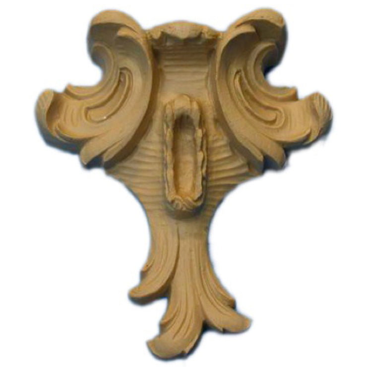 "Brockwell's 4""(W) x 4-1/2""(H) x 3/4""(Relief) - Ornate Applique - Louis XV Leaf Design - [Compo Material]- - ColumnsDirect.com"