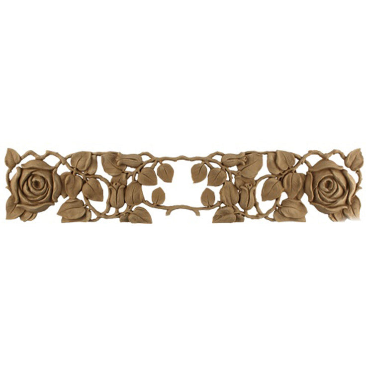 "Brockwell's 19-1/2""(W) x 4""(H) x 3/8""(Relief) - Ornate Applique - French Rose Vine Design - [Compo Material]- - ColumnsDirect.com"