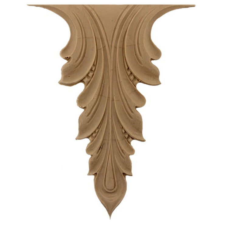 "Brockwell's 5-1/4""(W) x 7-1/2""(H) - Interior Stain-Grade Accent - Acanthus Leaf - [Compo Material]- - ColumnsDirect.com"