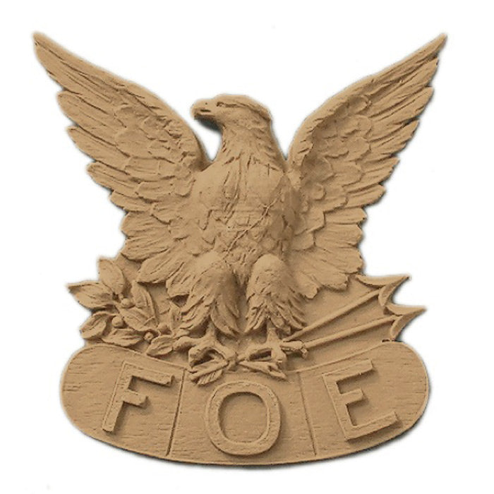 "3-3/4""(W) x 3-7/8""(H) x 3/8""(Relief) - F.O.E. Emblem Eagle Design - [Compo Material] - Brockwell Incorporated"