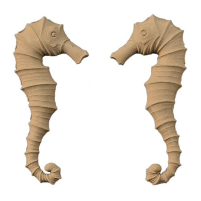 "3-5/8""(W) x 8""(H) x 1/2""(Relief) - Sea Horse Design (PAIR) - [Compo Material] - Brockwell Incorporated"