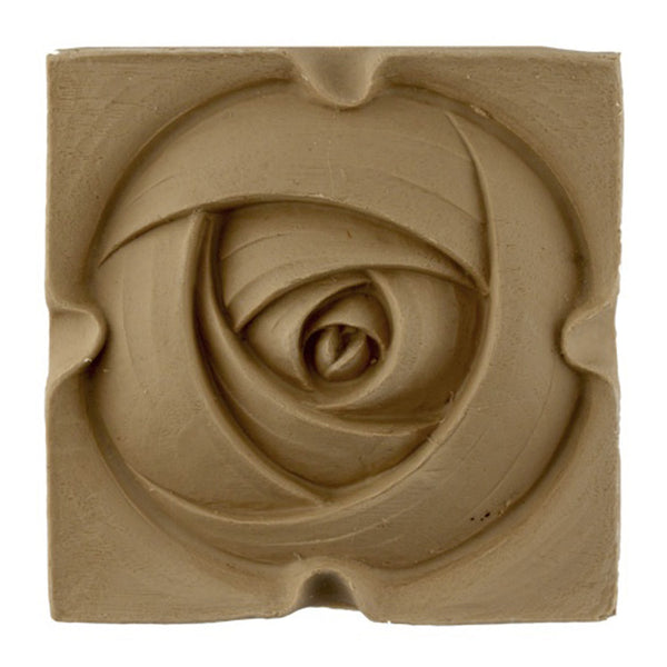 "4-1/4""(W) x 4-1/4""(H) x 3/8""(Relief) - Art Nouveau Rose Rosette - [Compo Material] - Brockwell Incorporated"