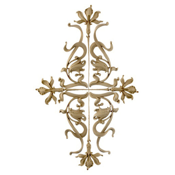 "14""(W) x 22-3/4""(H) x 3/8""(Relief) - Art Nouveau Flower Applique - [Compo Material] - Brockwell Incorporated"