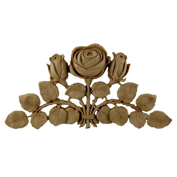 "8-1/4""(W) x 4-1/4""(H) x 1/2""(Relief) - Art Nouveau Rose Applique - [Compo Material] - Brockwell Incorporated"