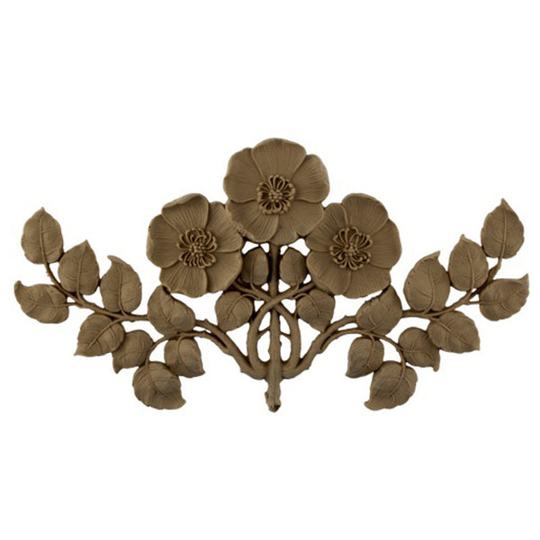 "11-1/2""(W) x 6-1/2""(H) x 1/2""(Relief) - Art Nouveau Poppy Flower Applique - [Compo Material] - Brockwell Incorporated"