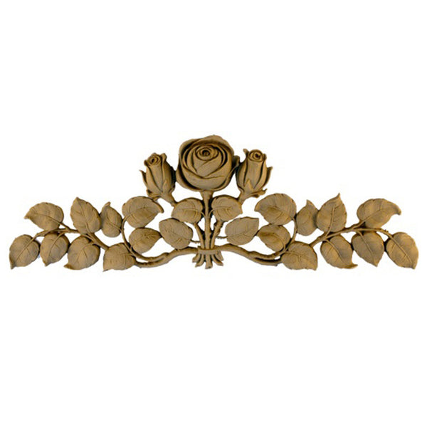 "13-1/4""(W) x 4-1/2""(H) x 3/4""(Relief) - Art Nouveau Rose Applique - [Compo Material] - Brockwell Incorporated"