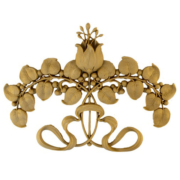 "9""(W) x 6-5/8""(H) x 3/4""(Relief) - Art Nouveau Flower Applique - [Compo Material] - Brockwell Incorporated"