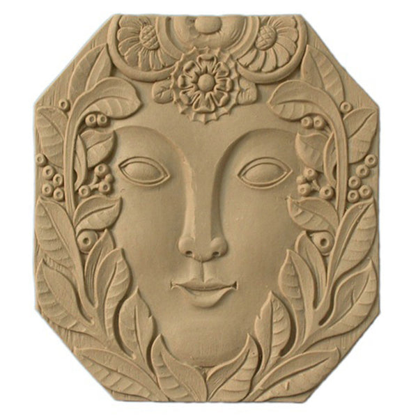 "6-5/8""(W) x 7""(H) x 3/16""(Relief) - Oval Art Deco Face Rosette - [Compo Material] - Brockwell Incorporated"