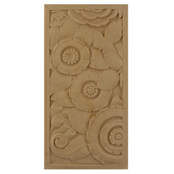 "4""(W) x 8""(H) x 5/16""(Relief) - Rectangular Art Deco Rosette Design - [Compo Material] - Brockwell Incorporated"