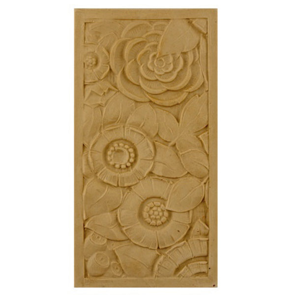 "4""(W) x 8""(H) x 5/16""(Relief) - Art Deco Rectangular Rosette Design - [Compo Material] - Brockwell Incorporated"