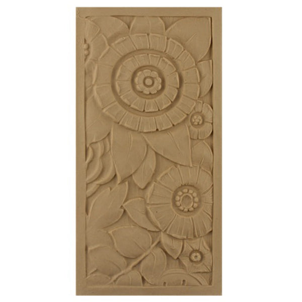 "4""(W) x 8""(H) x 5/16""(Relief) - Art Deco Rectangular Rosette - [Compo Material] - Brockwell Incorporated"