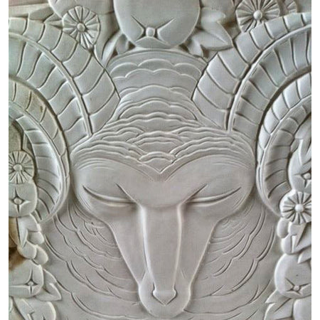 Square Art Deco Ram's Head Plaster Wall Panel - Brockwell Incorporated