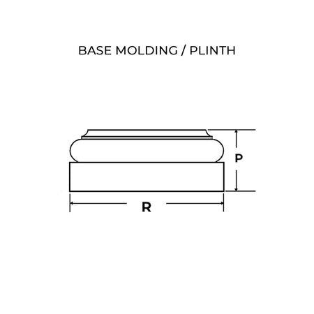 Square Tuscan base molding & plinth line drawing for Brockwell Incorporated's square non-tapered columns