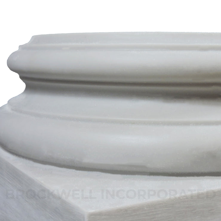 Closeup of Brockwell Columns' Non Load-Bearing Attic Base Molding & Plinth