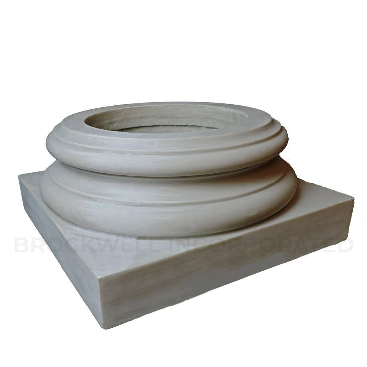 Durable fiberglass composite load-bearing interior Attic base for wood columns