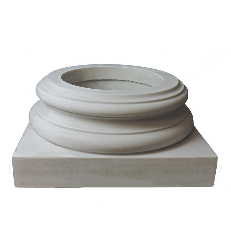 Fiberglass composite Ionic Order (Attic) base moldings & plinth for interior wood columns