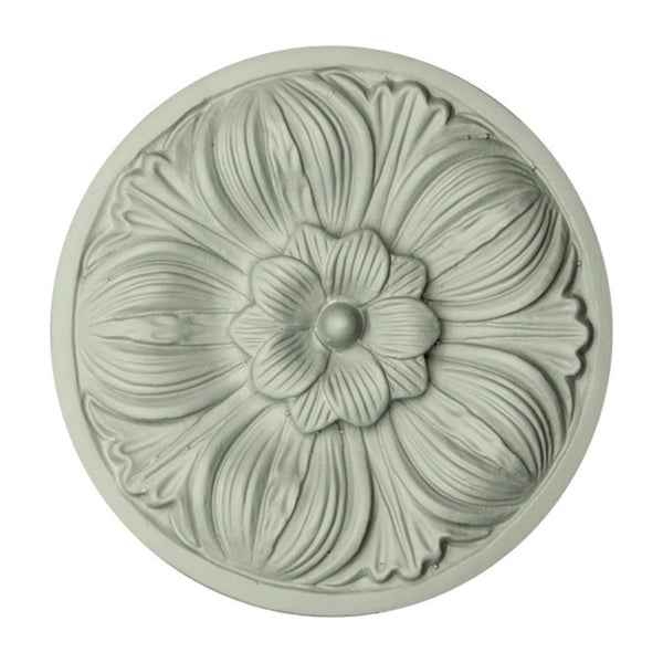 "5-1/8"" (Diam.) x 1/2"" (Relief) - Classic Floral Rosette Applique - [Plaster Material] - Brockwell Incorporated"